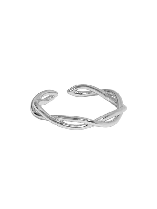 Platinum [12 Adjustable] 925 Sterling Silver Irregular Minimalist Twist Interweave Band Ring